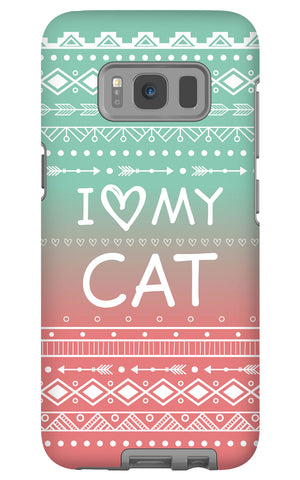 Samsung Galaxy S8 I Love My Cat Phone Case with Tough Rugged Protection