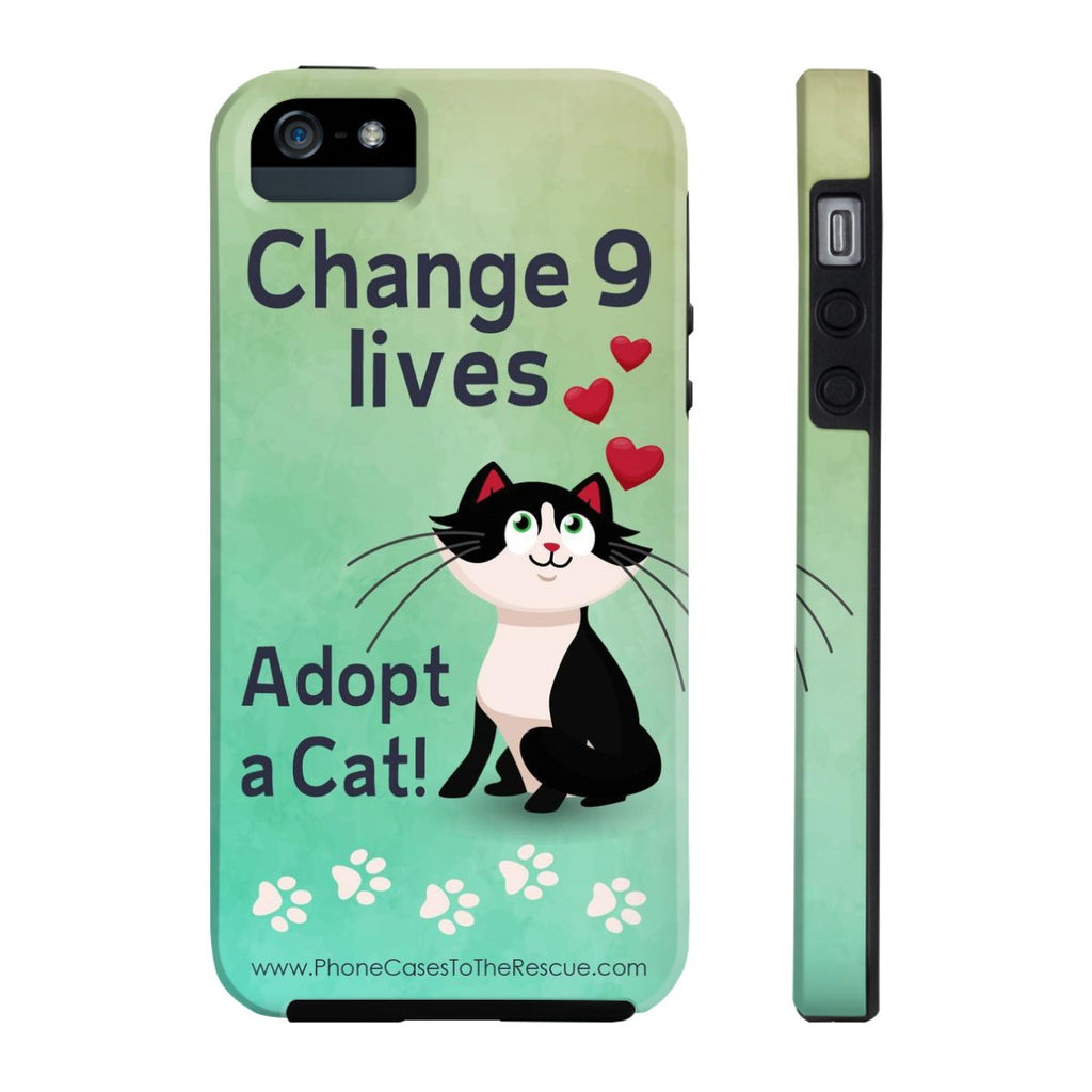 iPhone 5/5s/5se Change 9 Lives Cat Phone Case with Tough Rugged Protection
