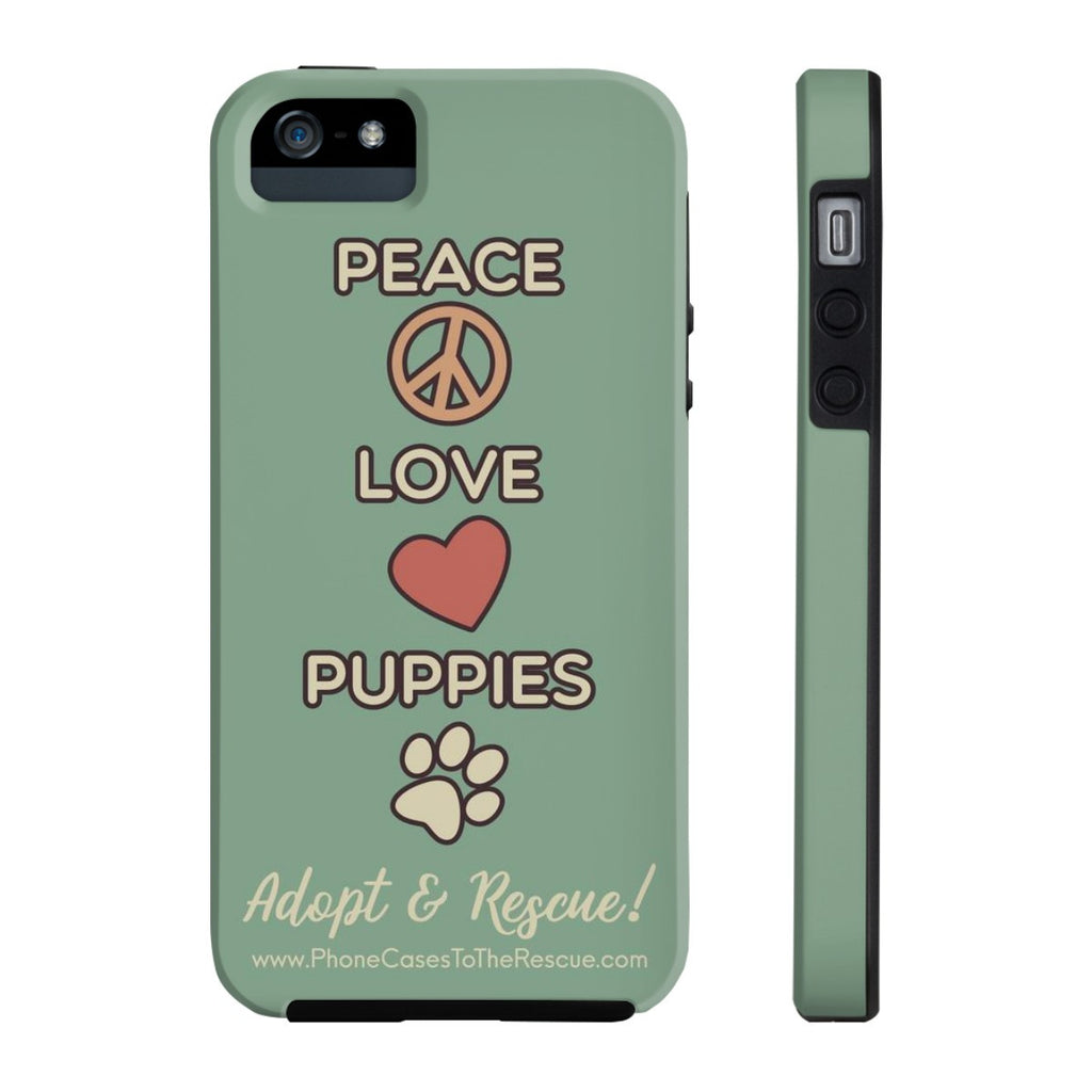 iPhone 5/5s/5se Peace, Love, and Puppies Phone Case with Tough Rugged Protection