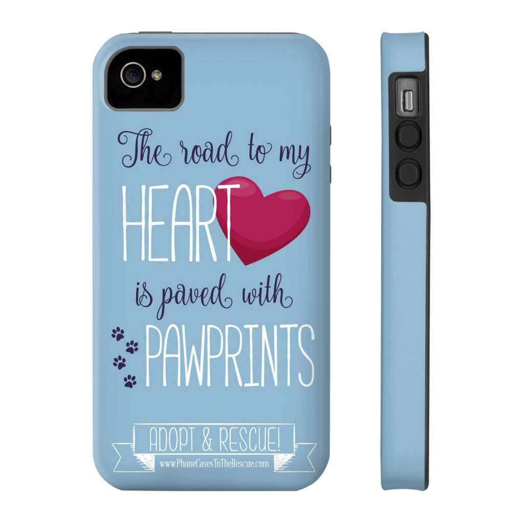 iPhone 4/4s Paved with Pawprints Phone Case with Tough Rugged Protection