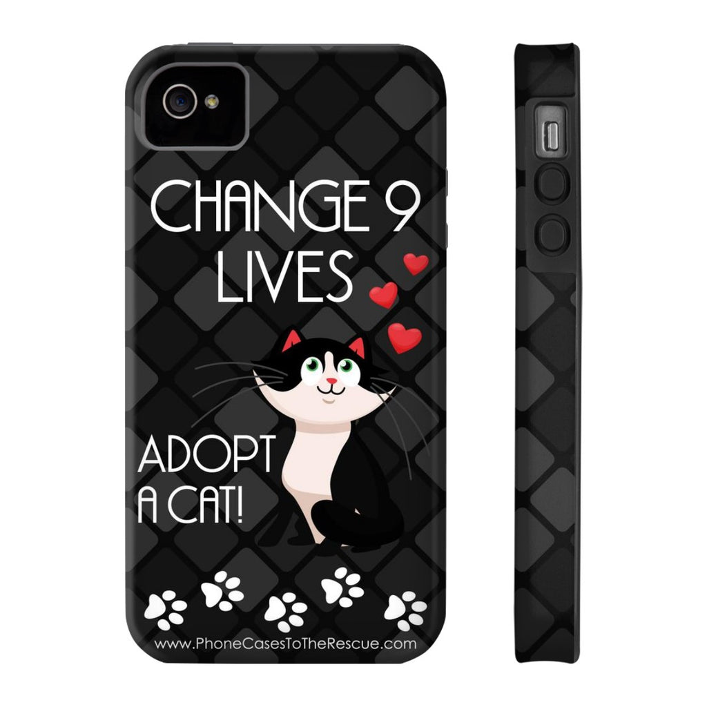 iPhone 4/4s Change 9 Lives Cat Phone Case with Tough Rugged Protection