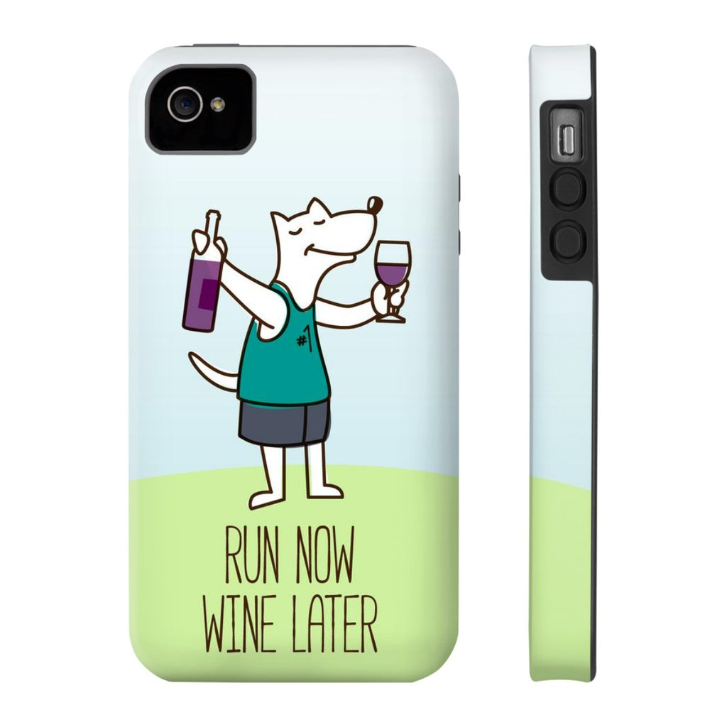 iPhone 4/4s Run Now Drinks Later Phone Case with Tough Rugged Protection