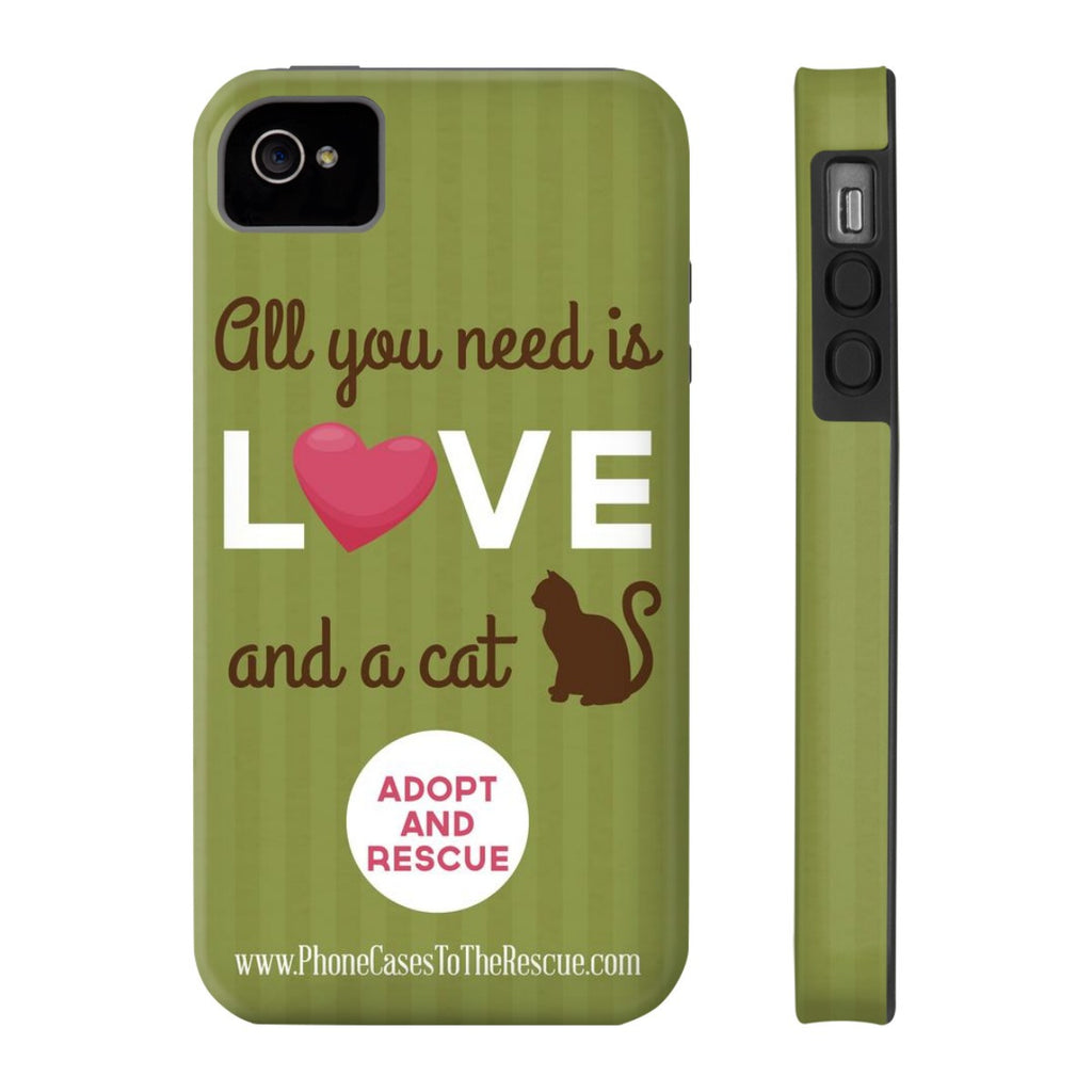 iPhone 4/4s Cute Brown Cat Phone Case with Tough Rugged Protection