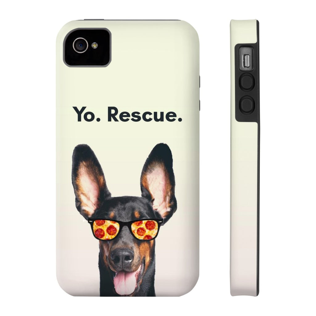 iPhone 4/4s Yo Rescue Pizza Dog Phone Case with Tough Rugged Protection