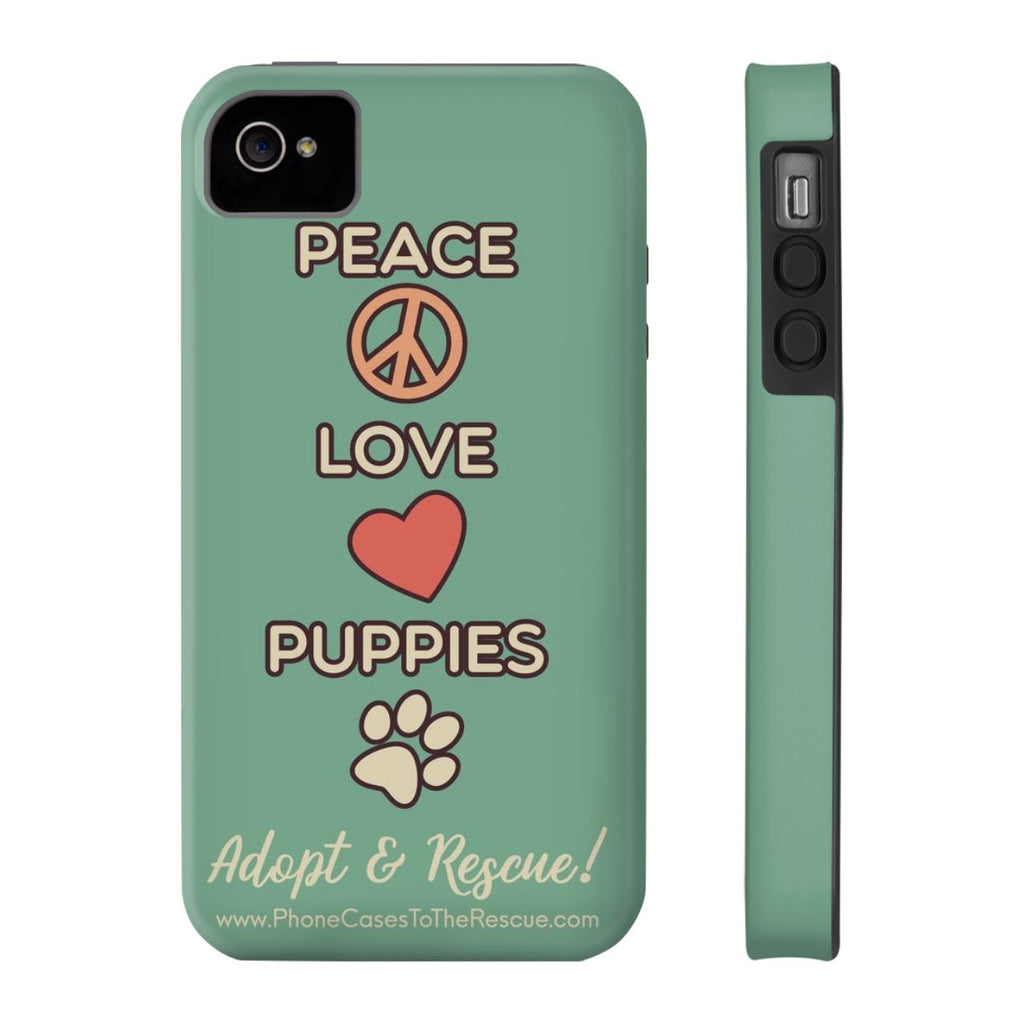 iPhone 4/4s Peace, Love, and Puppies Phone Case with Tough Rugged Protection