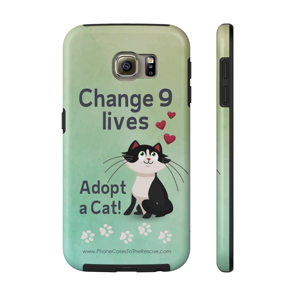 Samsung Galaxy S6 Change 9 Lives Cat Phone Case with Tough Rugged Protection