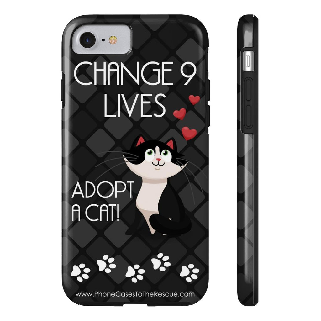 iPhone 7 Change 9 Lives Cat Phone Case with Tough Rugged Protection