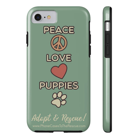 iPhone 7 Peace, Love, and Puppies Phone Case with Tough Rugged Protection