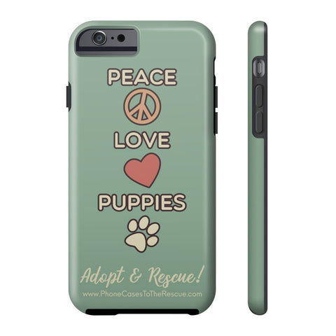 iPhone 6/6s Peace, Love, and Puppies Phone Case with Tough Rugged Protection