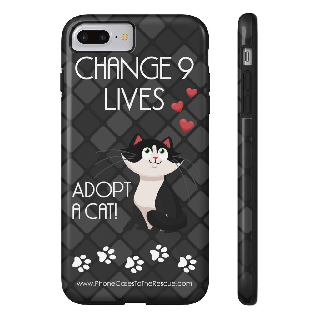 iPhone 7 Plus Change 9 Lives Cat Phone Case with Tough Rugged Protection