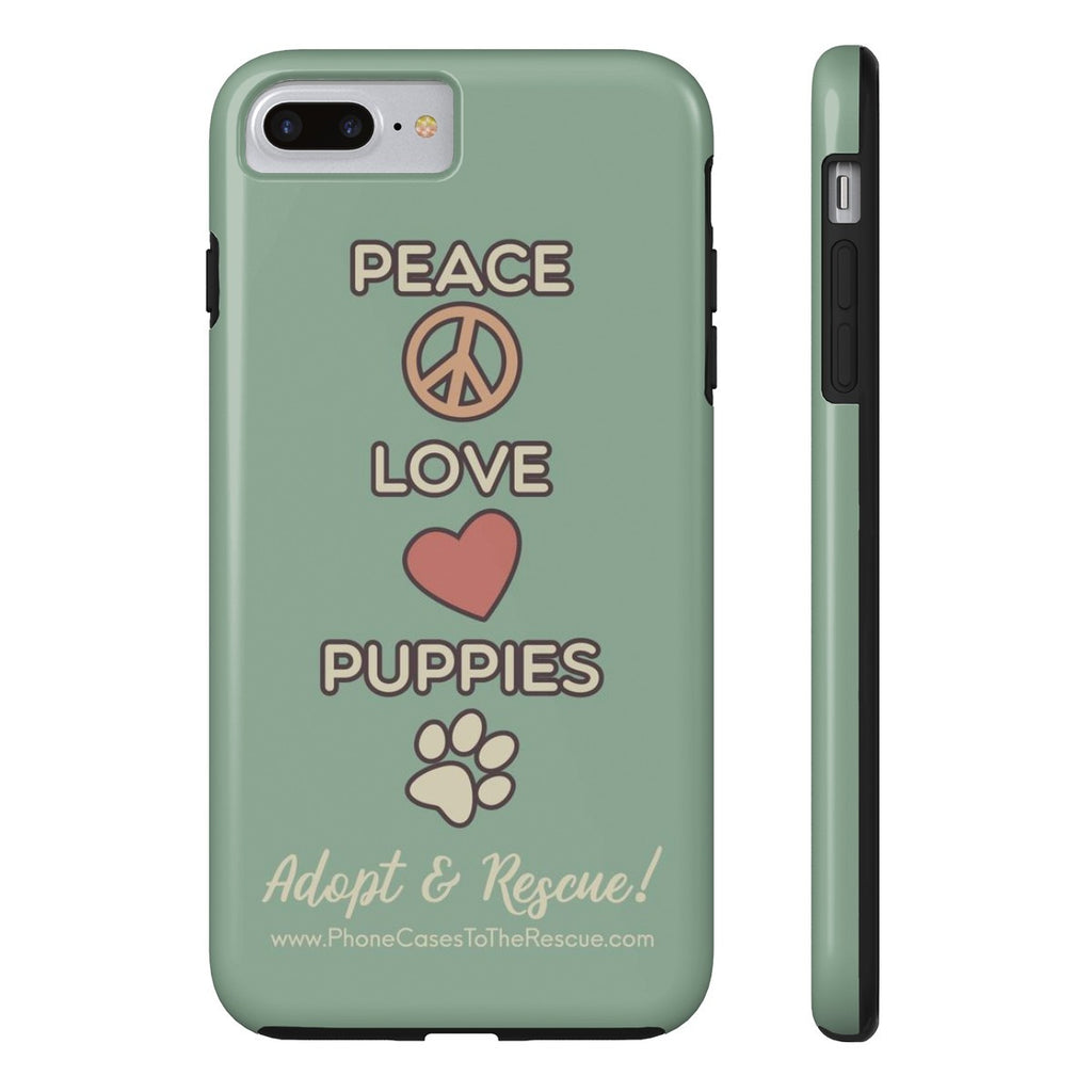 iPhone 7 Plus Peace, Love, and Puppies Phone Case with Tough Rugged Protection