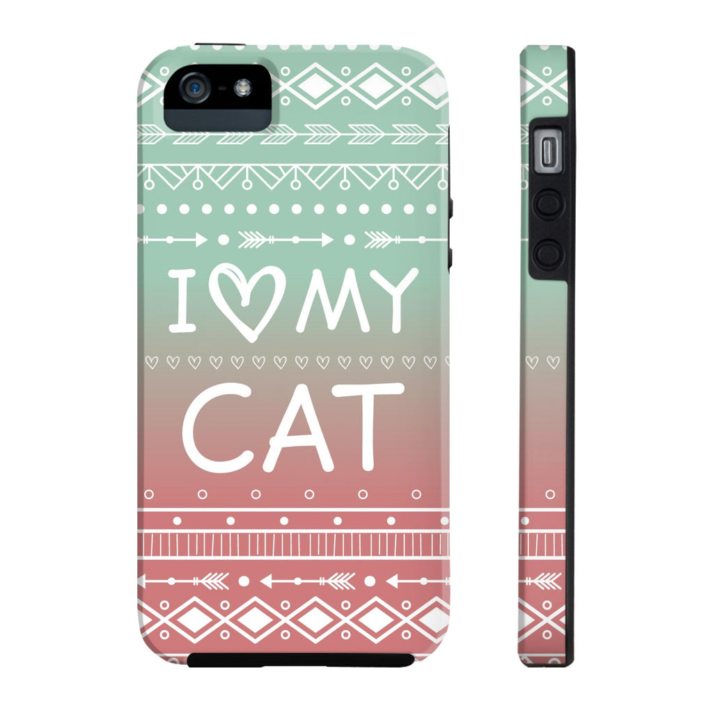 iPhone 5/5s/5se I Love My Cat Phone Case with Tough Rugged Protection