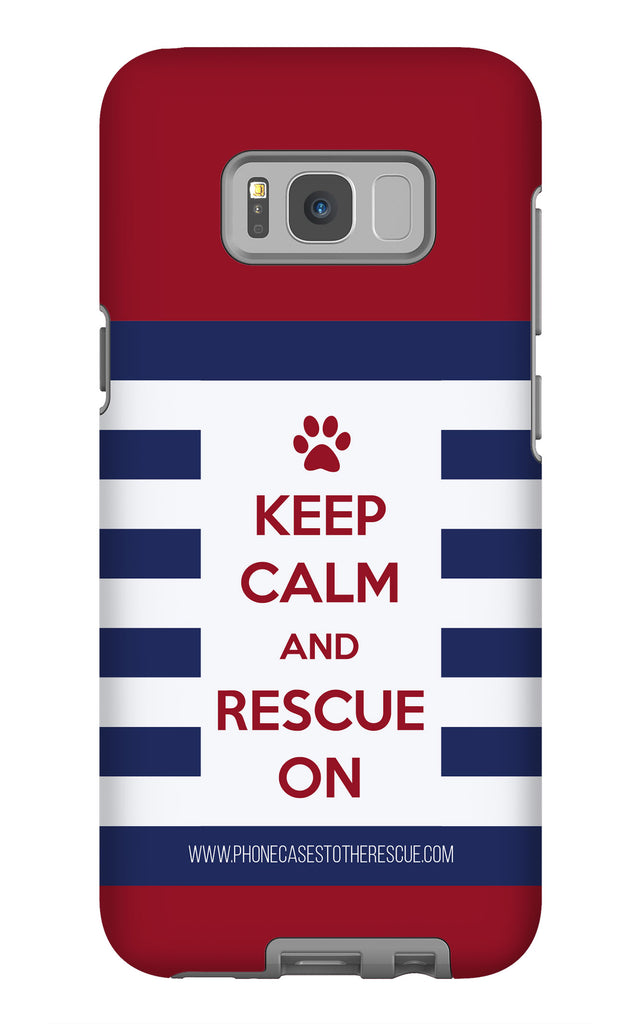 Samsung Galaxy S8 Plus Keep Calm and Rescue On Patriotic Phone Case with Tough Rugged Protection