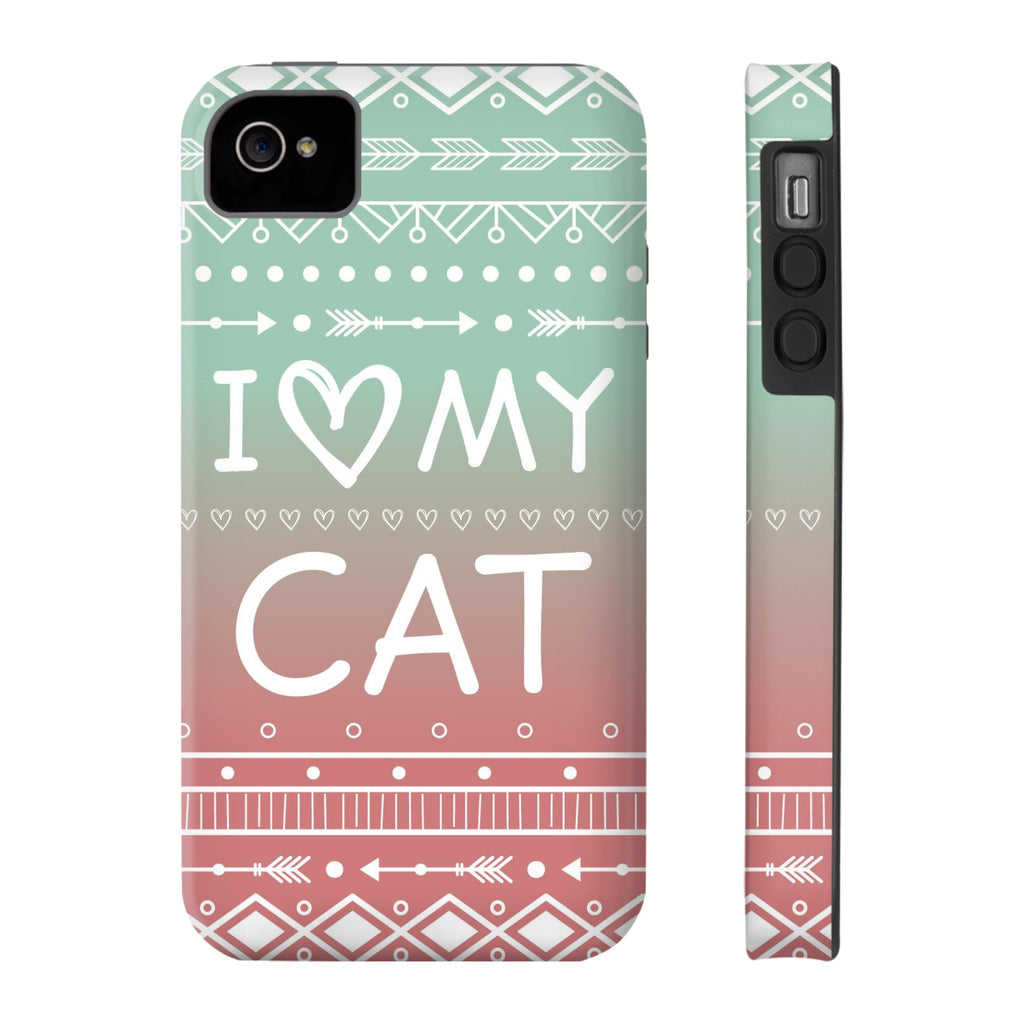 iPhone 4/4s I Love My Cat Phone Case with Tough Rugged Protection