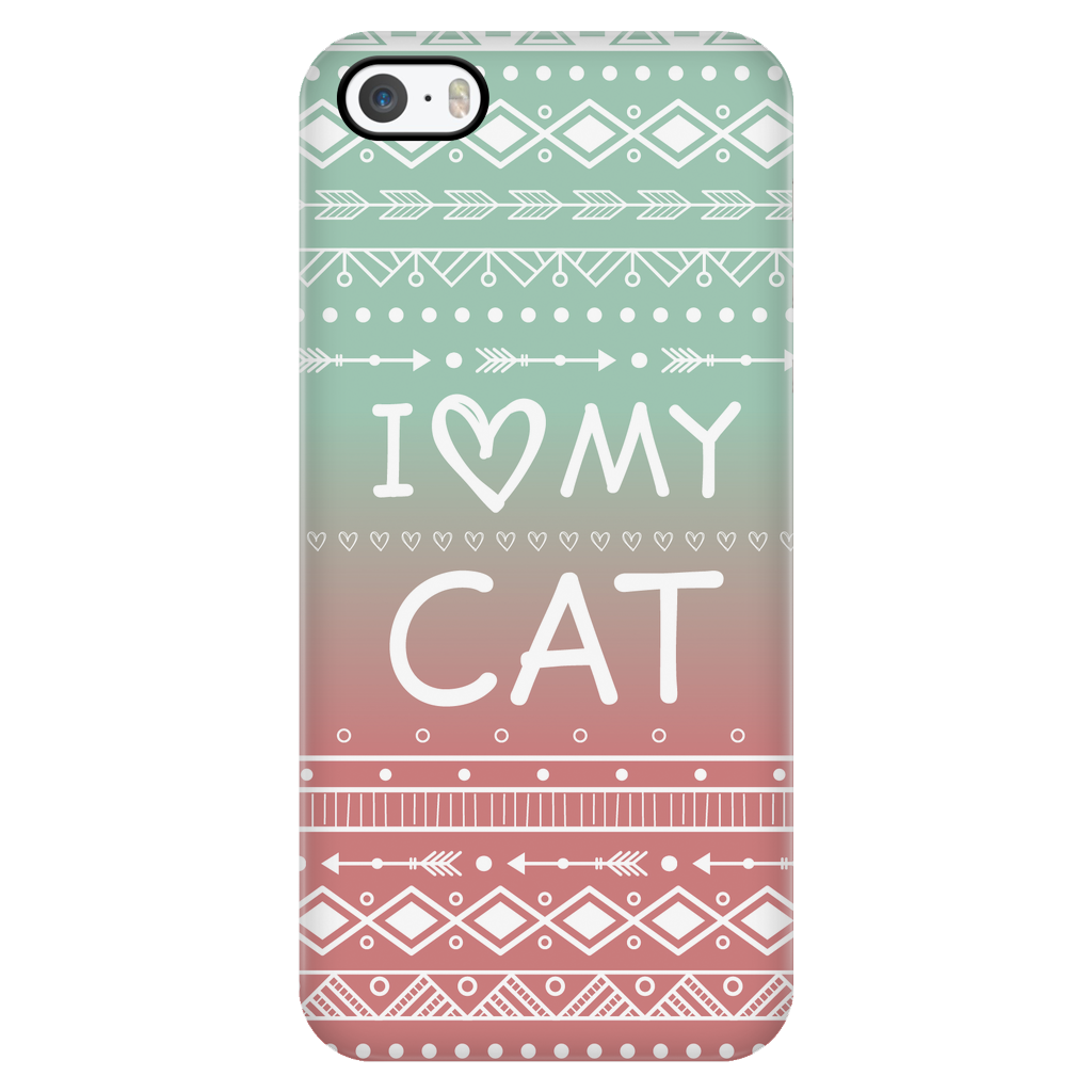 iPhone 5/5s I Love My Cat Phone Case with Ultra Slim Durable Profile