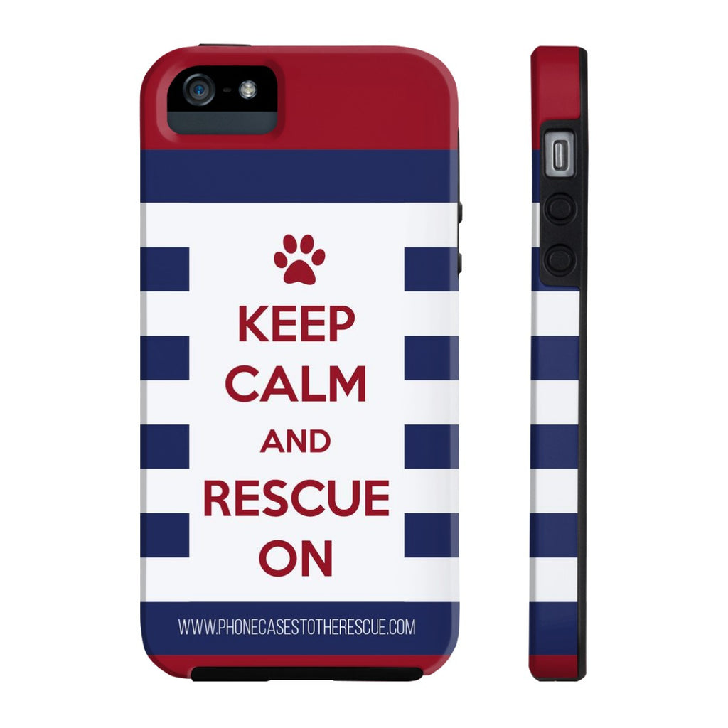 iPhone 5/5s/5se Keep Calm and Rescue On Patriotic Phone Case with Tough Rugged Protection