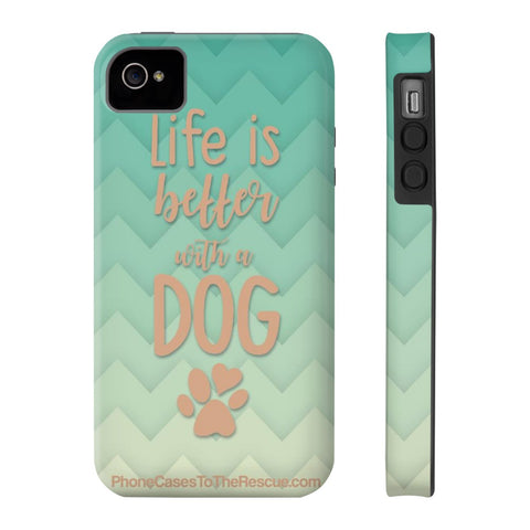 iPhone 4/4s Life Is Better Phone Case with Tough Rugged Protection