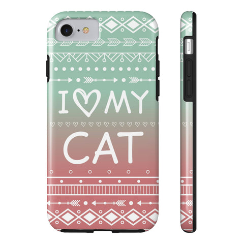 iPhone 7 I Love My Cat Phone Case with Tough Rugged Protection