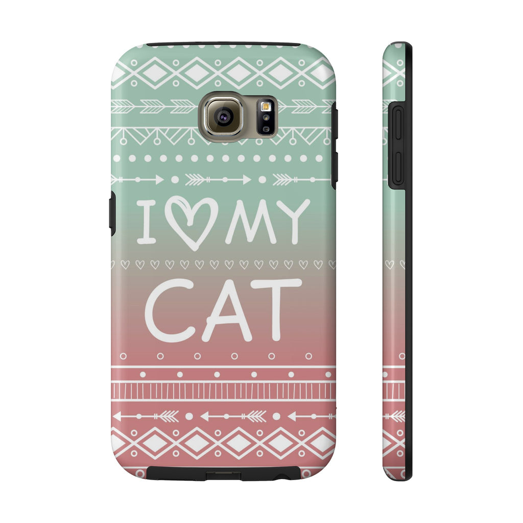 buy online 4f6f4 44728 Samsung Galaxy S6 I Love My Cat Phone Case with Tough Rugged Protection