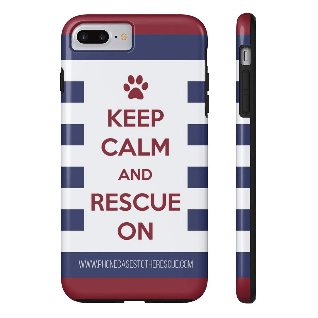 iPhone 7 Plus Keep Calm and Rescue On Patriotic Phone Case with Tough Rugged Protection
