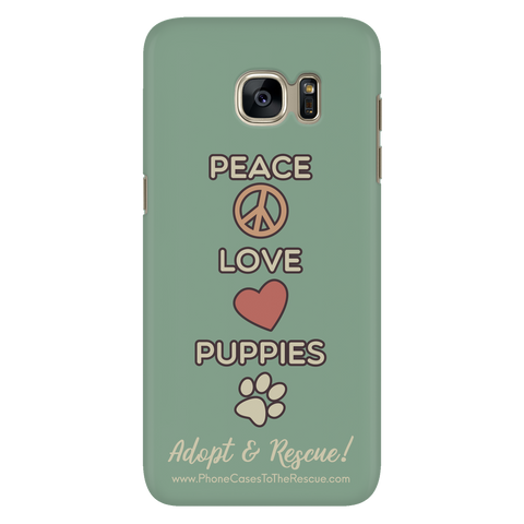Samsung Galaxy S7 Peace, Love, and Puppies Phone Case with Ultra Slim Durable Profile