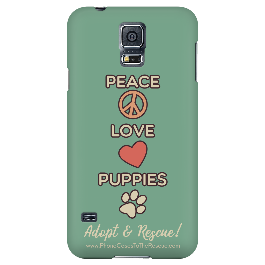 Samsung Galaxy S5 Peace, Love, and Puppies Phone Case with Ultra Slim Profile