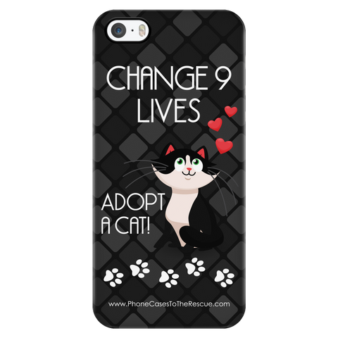 iPhone 5/5s Change 9 Lives Cat Phone Case with Ultra Slim Durable Profile