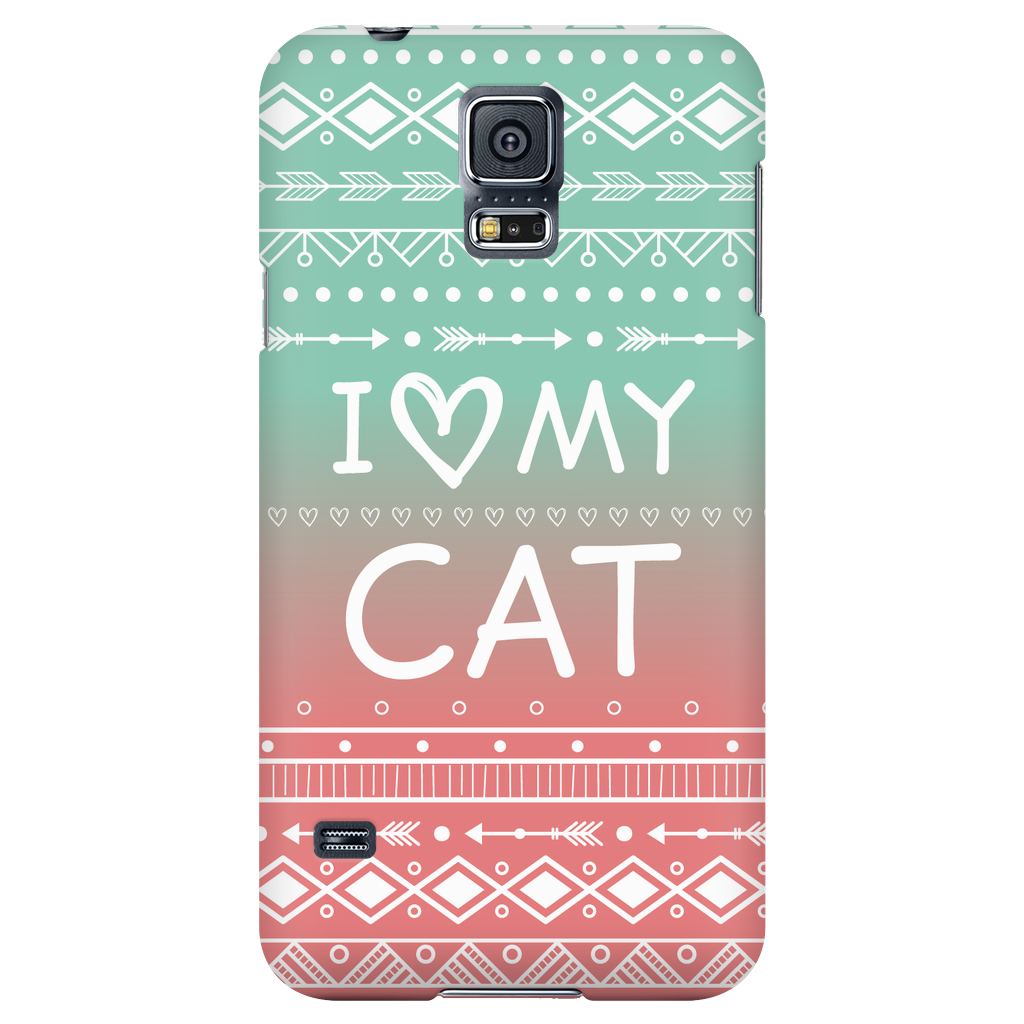 Samsung Galaxy S5 I Love My Cat Phone Case with Ultra Slim Profile