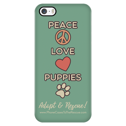iPhone 5/5s Peace, Love, and Puppies Phone Case with Ultra Slim Durable Profile