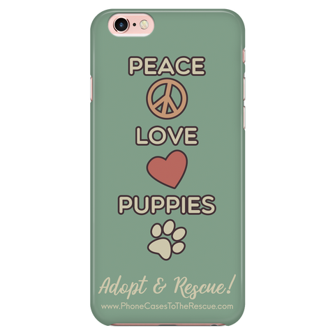 iPhone 7/7s Peace, Love, and Puppies Phone Case with Ultra Slim Durable Profile