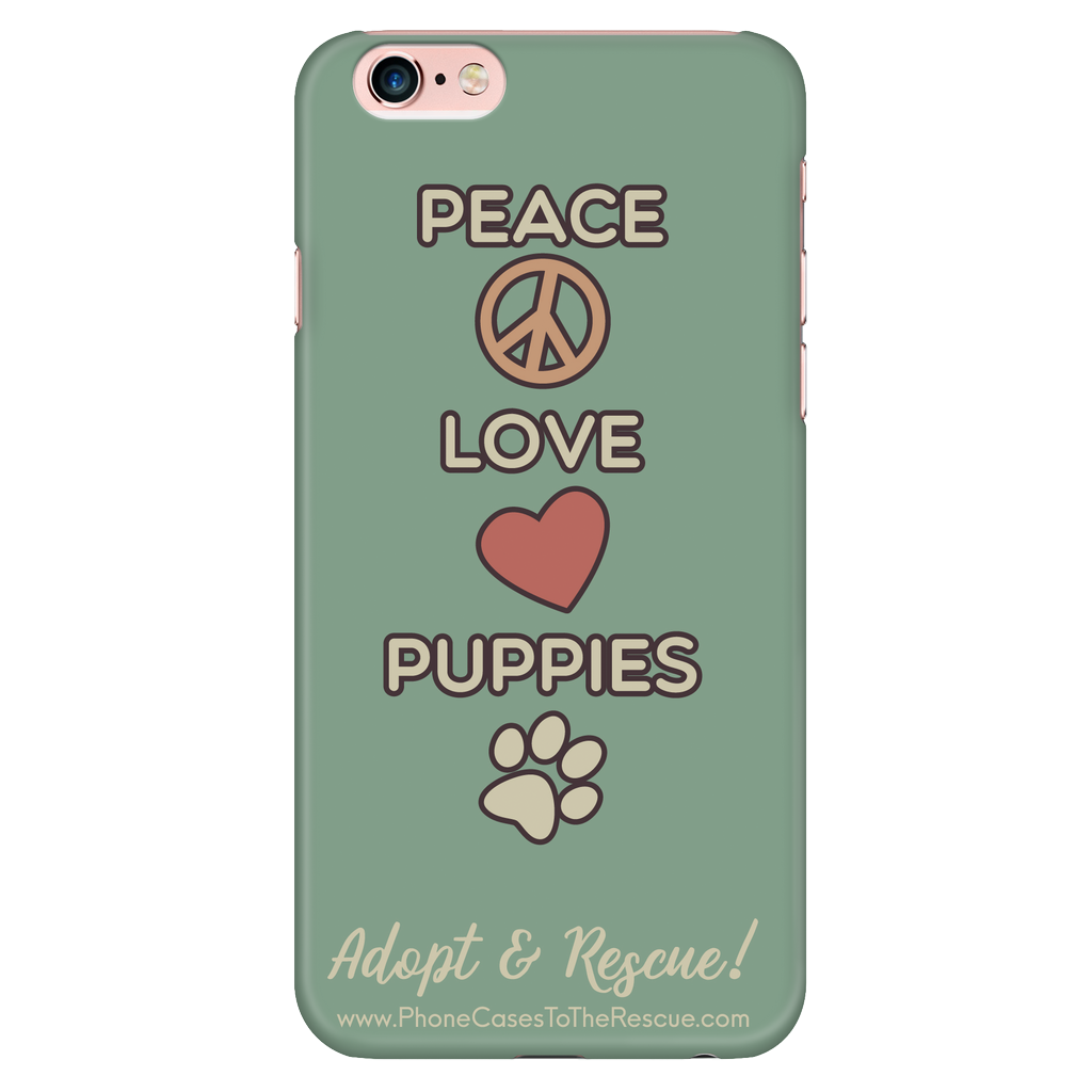 iPhone 6/6s Peace, Love, and Puppies Phone Case with Ultra Slim Durable Profile
