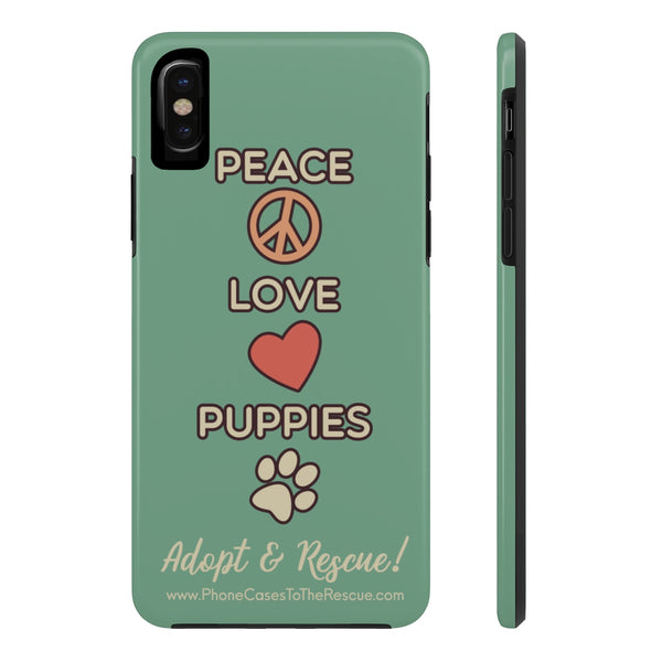 iPhone X Peace Love Puppies Phone Case with Tough Rugged Protection