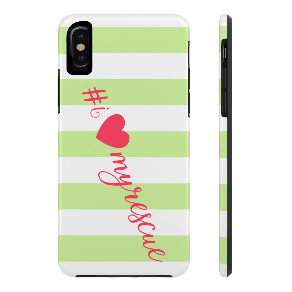 iPhone X I Love My Rescue Striped Phone Case with Tough Rugged Protection