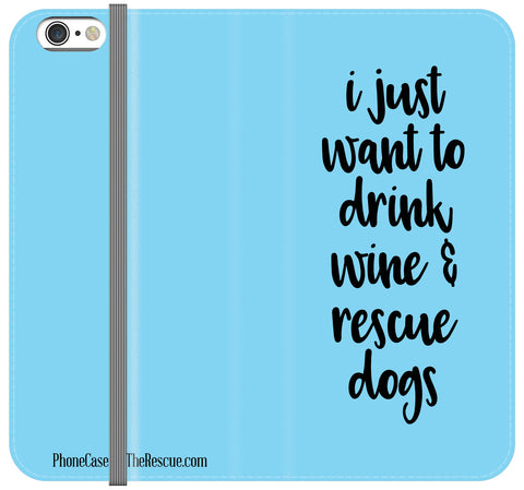 Wine & Dogs Folio Case - Galaxy S7