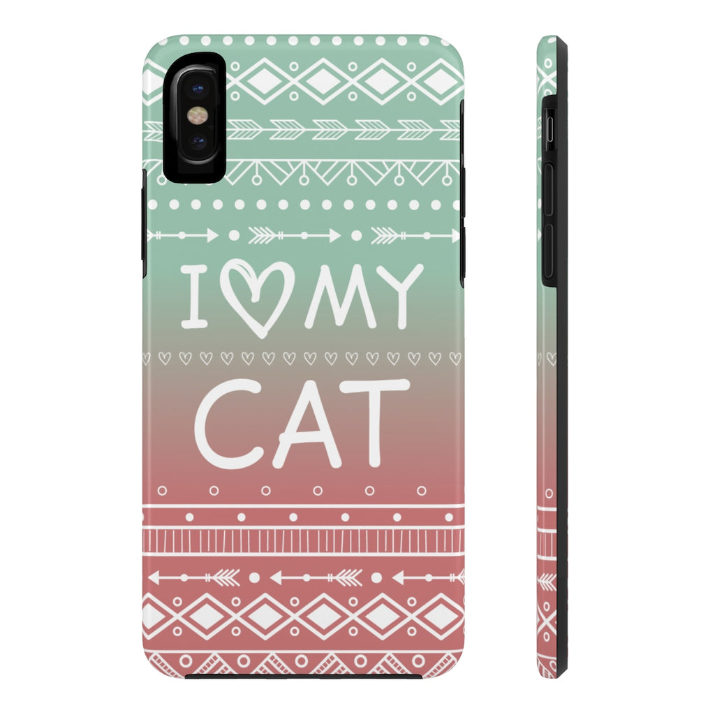 iPhone X I Love My Cat Phone Case with Tough Rugged Protection