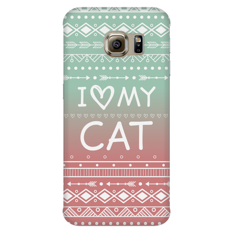 Samsung Galaxy S6 Edge I Love My Cat Phone Case with Ultra Slim Durable Profile