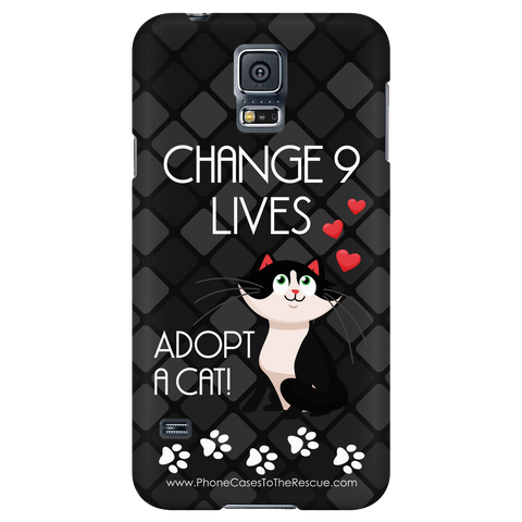 Samsung Galaxy S5 Change 9 Lives Cat Phone Case with Ultra Slim Profile