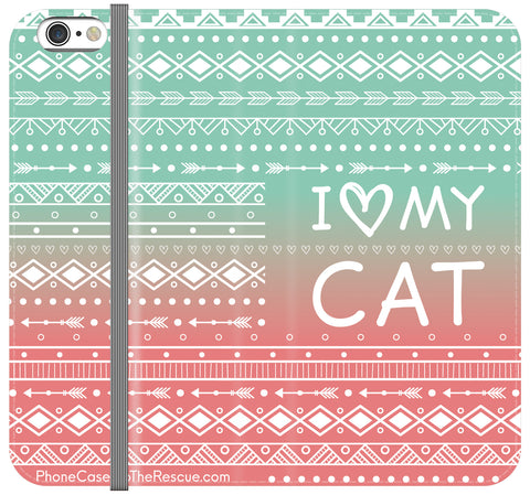 I Love My Cat Folio Case - Galaxy S6 Edge