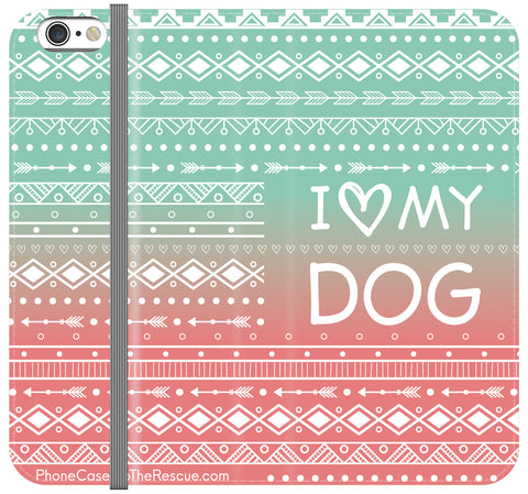 I Love My Dog Folio Case - Galaxy S6 Edge