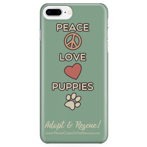 iPhone 7/7s Plus Peace, Love, and Puppies Phone Case with Ultra Slim Durable Profile