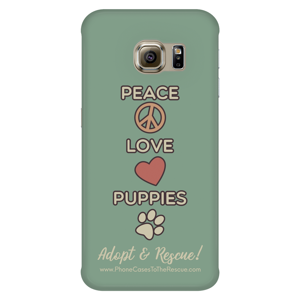 Samsung Galaxy S6 Edge Peace, Love, and Puppies Phone Case with Ultra Slim Durable Profile