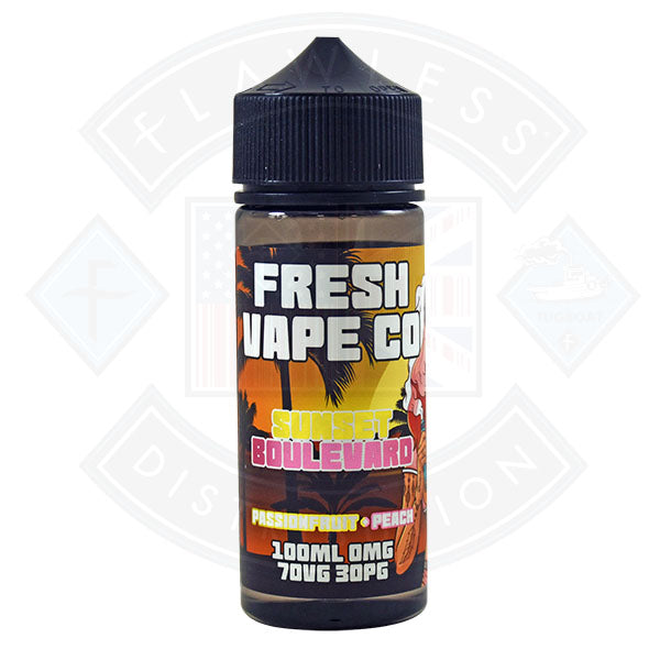 Fresh Vape Co. Sunset Boulevard Passionfruit & Peach 0mg 100ml Shortfill