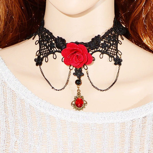 Steampunk Sunglasses - Victorian Rose Lace Choker
