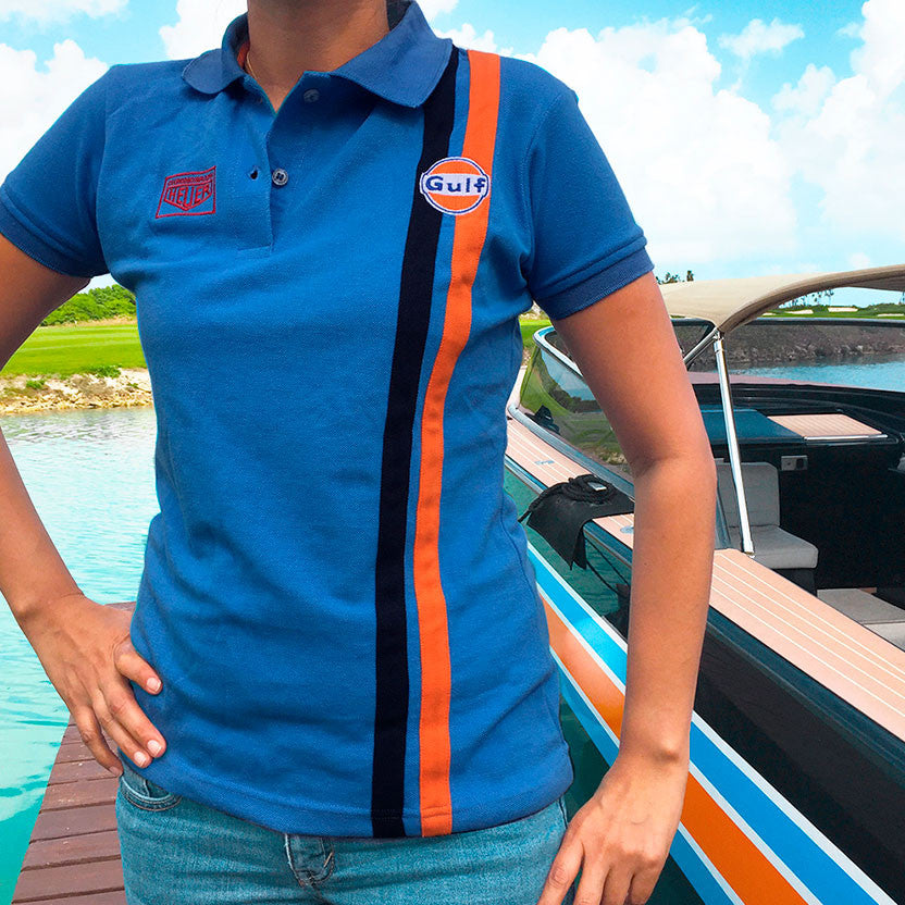Polo Gulf Stripe Cobalt- Lady