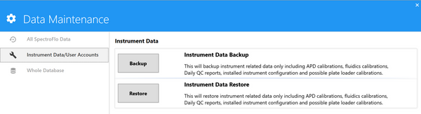 Data Maintenance instrument data backup