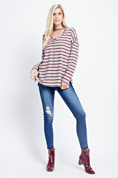 Beautiful in Burgundy Stripes Top