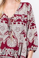 Burgundy Patterned Top