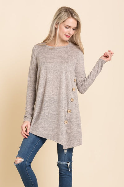 Hacci Knit Sweater Tunic Top