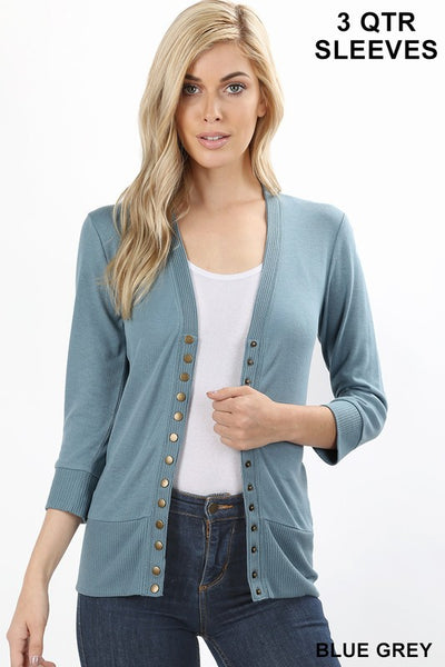 Oh Snap! ... Button Cardigan - 3/4 sleeves