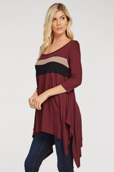 A Stripe of Contrast Top - Burgandy